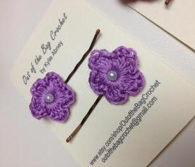 Six Coordinating Crochet Flower Bobby Pins
